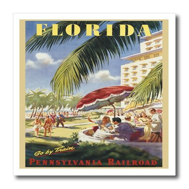 3dRose ht_163663_3 Image of Florida Vintage Train Ad-Iron on Heat Transfer Paper for White Material, 10 by 10-Inch ()