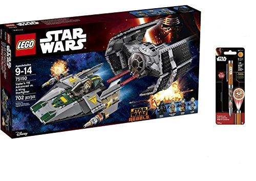 LEGO Star Wars Vader's TIE Advanced vs. A-Wing Starfighter 702PCS & Star Wars Projector Pen, Colors may vary Playsets Building Toys
