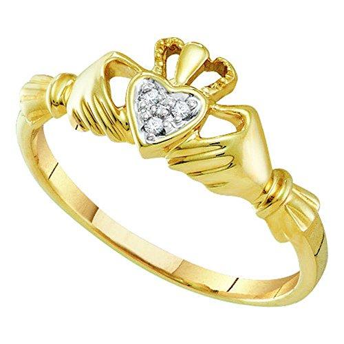 14kt Yellow Gold Womens Round Diamond Claddagh Heart Ring .01 Cttw