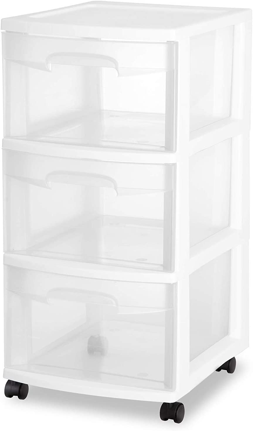 Sterilite 28308001K 3 Drawer Rolling Caster Wheel Home Organizer Storage Cart with Durable Plastic Frame, Clear Drawers, White (4 Pack)