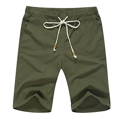 (Janmid Men's Linen Casual Classic Fit Short Army Green XL)