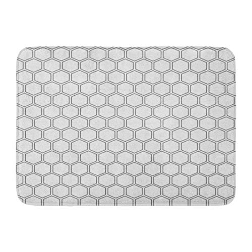 (Emvency Doormats Bath Rugs Outdoor/Indoor Door Mat Geometric Abstract Minimalistic Black and White Pattern Hexagon Shape Polygon Bathroom Decor Rug 16