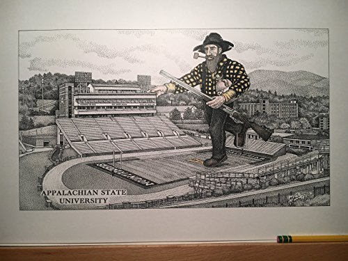 Appalachian State football stadium with mountaineer; pen and ink print from hand-drawn original by Campus Scenes