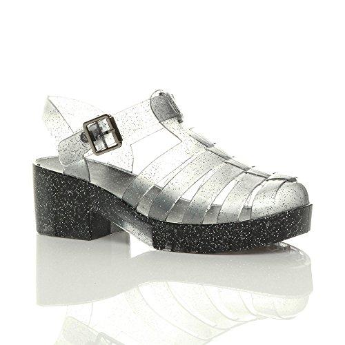 Sandals Jelly Heel Retro 90s Mid Size Glitter Ajvani Block Black Women Smoke qtWPY