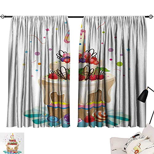 1st Birthday Curtain Living Room Baby First Party Festive Cake with Forest Fruits and Candlestick Image Print Decor Darkening Curtains Multicolor W55 x L39 by Jinguizi (Image #6)