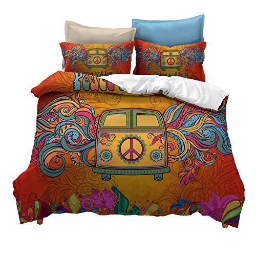 Suncloris,Hippie Psychedelic Camper Van Peace Sign,Bedding Boys Girls Watercolor Colorful Art Duvet Cover Set,Included:1 Duvet Cover,2 Pillowcase(no Comforter Inside) (Queen) for $<!--$68.99-->