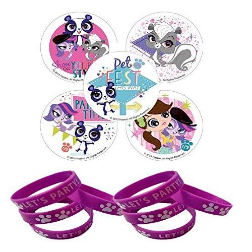 24 Littlest Pet Shop Party Stickers & 12 Purple Paw Favor (Lps Party Supplies)