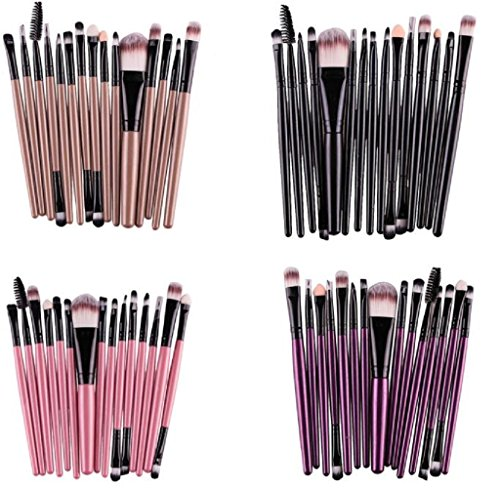 Gillberry 15 pcs/Sets Eye Shadow Foundation Eyebrow Lip Brush Makeup Brushes Tool (Pink) - bedroomdesign.us