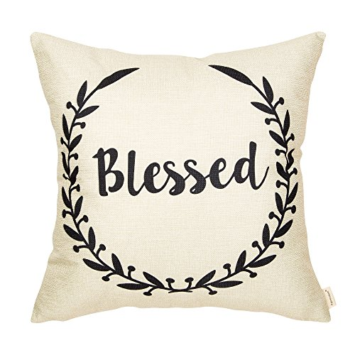Fahrendom Rustic Blessed Olive Branch Vine Wreath Vintage Country Style Retro Farmhouse Quote Gift Cotton Linen Home Decorative Throw Pillow Case Cushion Cover Words Sofa Couch 18 x 18 inch