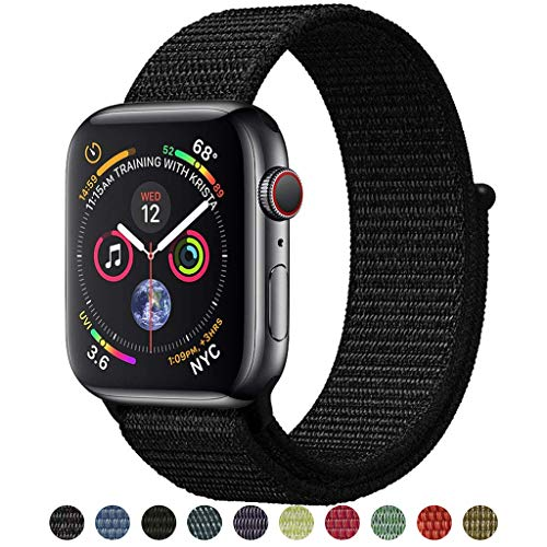 Tces Sport Wristbands Compatible with 2018 Watch Band 38mm 42mm 40mm 44mm, Soft Lightweight Breathable Woven Nylon Sport Loop Replacement Strap Compatible with 2018 Watch Series 4 3 2 1