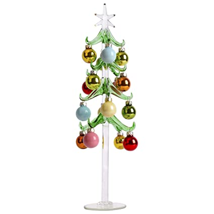 Amazoncom Autoark Green Glass Christmas Tree With 16 Coloured