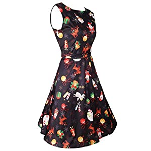 DREAGAL Halloween Sleeveless Floral Printed Flared Swing Dress with Belt