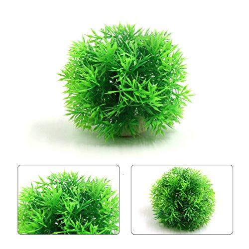 uxcell Green Plastic Needle Grass Ball Aquarium Fish Tank Decor Aquatic Plant Ornament - Green Needle Grass