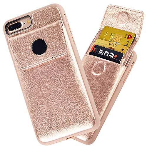 iPhone 8 Plus Wallet Case, JLFCH iPhone 7 Plus Card Holder Case with Drawer Type Wallet ID Credit Card Slot Cover Leather Protective for Apple iPhone 7/8 Plus 5.5 inch - Rose Gold