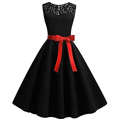 f77620367cd8 Women s Audrey Hepburn Rockabilly Vintage Sleeveless Dress 1950s Retro  Cocktail Swing Party Dress (S