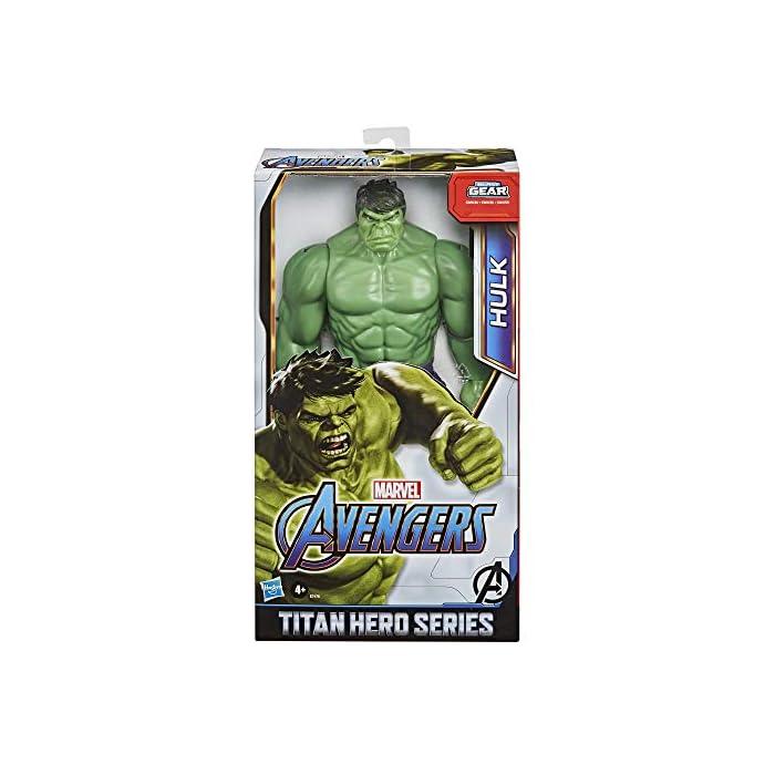 51YBjTk M%2BL Imagina a bruce banner convirtiéndose en el enorme héroe verde hulk con esta figura de hulk de 30.cm, inspirada en el diseño clásico del personaje de los cómics de marvel Los fans pueden imaginar al extremadamente fuerte hulk echando abajo muros y lanzándose a la aventura con esta figura de hulk, inspirada en el personaje de los cómics de marvel Conecta el lanzador blast gear (no incluido, se vende por separado con las figuras titan hero blast gear) al puerto posterior de las figuras titan hero series y titan hero blast gear para lanzar proyectiles con tan solo pulsar un botón
