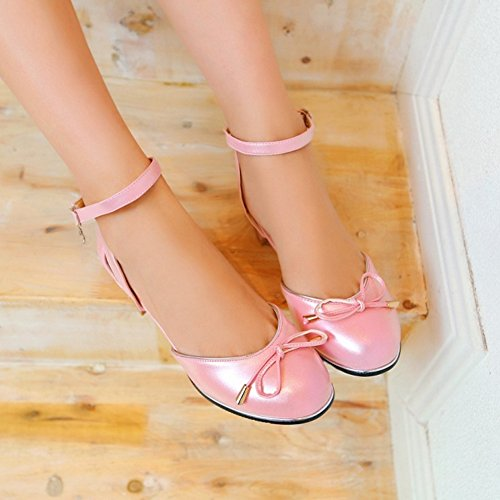 SJJH Sandals with Low Chunky Heel and Rounded Toe Cute Sandals with Mini/Large Pink DNGnlSE