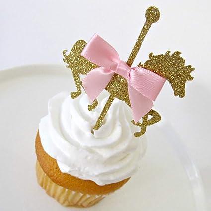 Flamingo Cupcake Toppers-Verano Fiesta-Brillo Dorado y color de rosa caliente-Juego de 10