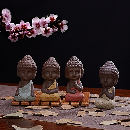 Monk Figurines (UOON Cute Small Buddha Statue Monk Figurine Outdoor Home Decor - 4pcs)