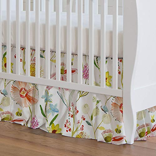 - Carousel Designs Watercolor Springtime Crib Skirt 17-Inch Gathered 17-Inch Length - Organic 100% Cotton Crib Skirt - Made in The USA