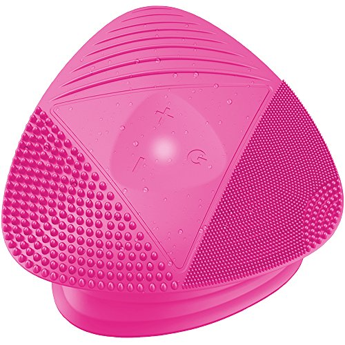 Silicone Sonic Facial Cleansing Brush - Best Beauty Massager for Normal, Sensitive, Combination Skin - Deep Cleaning Exfoliating Anti Aging Face Scrubber, Waterproof & Rechargeable Cleanser Tool, PINK