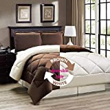 """AVI Newly Design Reversible Style 200 GSM Microfiber AC Comforter/Duvet/Quilt for Double Bed - (90""""x 100"""") inches, Brown & White"""