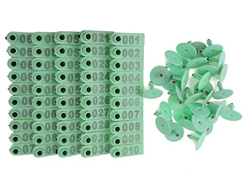 WGCD 200 PCS Green 1-100 Number Plastic Livestock Ear Tag...