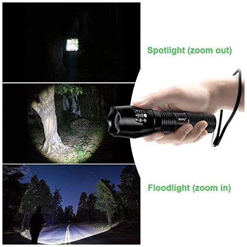 Handheld Light Zoomable 5 Modes Perfect for Camping Biking Dog Walking Emergency S1800 Powerful Waterproof Flashlight With High Lumen Wsky LED Flashlight