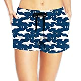 JIW Iaa Shark Pattern Womens Hipster Elastic Waist Shorts Quick Dry Lightweight Beach Shorts