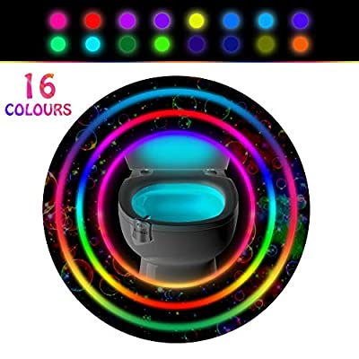 Toilet Light Motion Detection with 16 LED Colors, Sensor Led Toilet Bowl Light - Night Glowbowl Light Detection - As Seen on TV & Great Gift for Mom, Dad, Kids or Potty Training