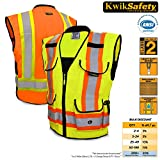 KwikSafety Presidential Hi Vis Yellow ANSI Class 2 Safety Vest | Two Tone Reinforced Polyester w/ Reflective Strips, 9 Pockets & Heavy Duty Zipper | Hi Viz Construction Surveyor Security | L/XL