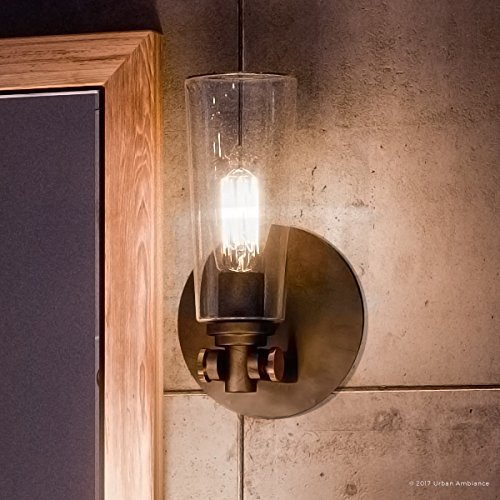 Luxury Vintage Indoor Wall Light, Small Size: 11''H x 6.5''W, with Casual Style Elements, Retro Design, Elegant Estate Bronze Finish and Clear Glass, Includes Edison Bulb, UQL2690 by Urban Ambiance by Urban Ambiance
