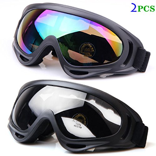 Sandey Ski Goggles Snowboard Adjustable UV Protective Motorcycle Riding Goggles for Men, Women & Youth, With UV 400 Protection, Wind Resistance, Anti-Glare Lenses (Multicolor and Clear) ...