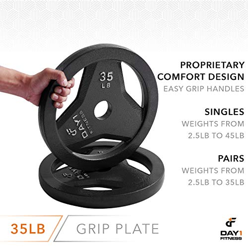 "Day 1 Fitness Cast Iron Olympic 2-Inch Grip Plate for Barbell, 35 Pound Single Plate Iron Grip Plates for Weightlifting, Crossfit - 2"" Weight Plate for Bodybuilding by Day 1 Fitness (Image #4)"