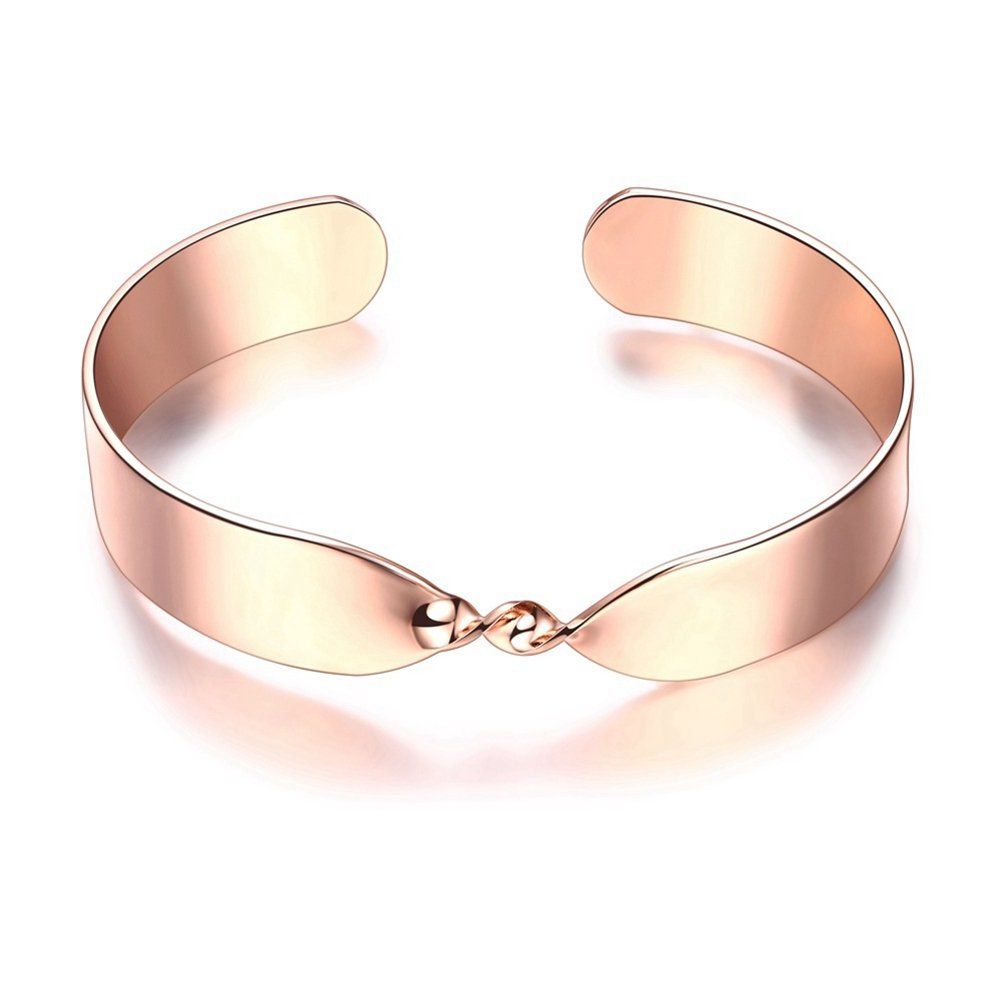 Fashion Rose Gold Plated Twisted Bangle for Women Gorgeous Simple Style Cuff Bracelet