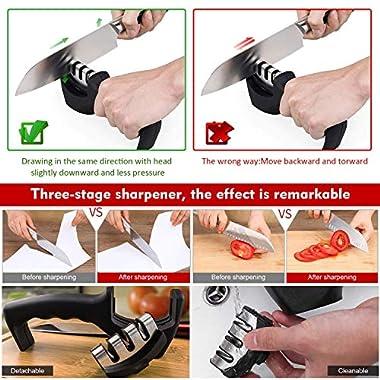 FLYNGO Manual Knife Sharpener 3 Stage Sharpening Tool for Ceramic Knife and Steel Knives 10