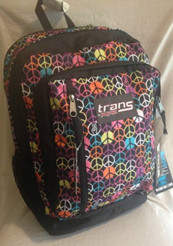 Jansport Trans Supermax Black Multi Hippy Hand Backpack Book Bag School bag