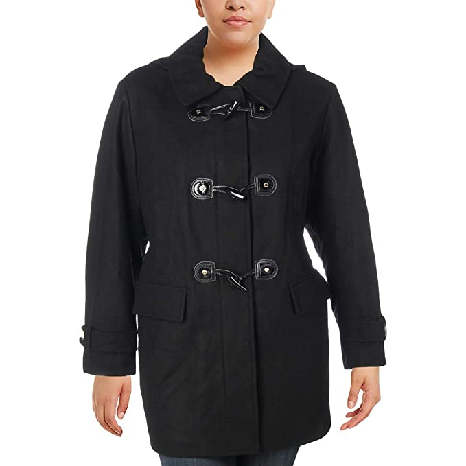 3401eed1d588f MICHAEL Michael Kors Womens Plus Fall Wool Blend Toggle Coat Black 1X   Amazon.ca  Clothing   Accessories