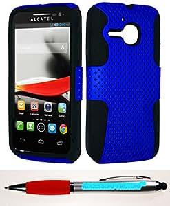 Accessory Factory(TM) Bundle (the item, 2in1 Stylus Point Pen) Alcatel 5020T Evolve Mesh Case Blue
