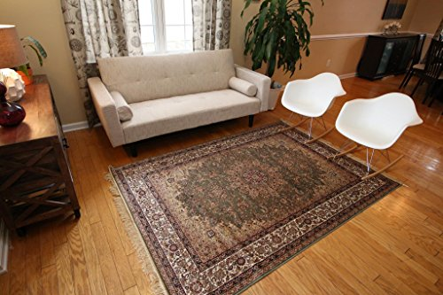 Sage Green New Silk Traditional Isphan Area Rugs Ultra Low Pile 8'3 Round 250x250cm