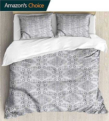VROSELV-HOME Bedding Bedspread,Box Stitched,Soft,Breathable,Hypoallergenic,Fade Resistant Colorful Floral Print -3 Pieces-Grey Victorian Regency Tile (87