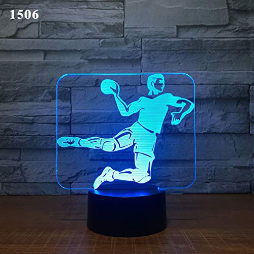 NACOLA Soccer Goalkeeper 3D Illusion Night Light Remote Control/Touch Table Desk Lamp,7 Colors Optical USB LED Nightlight (Keeper Soccer Control)