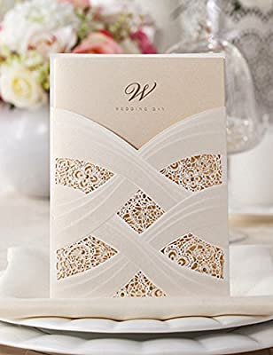 Doris Home Vertical Laser Cut Wedding Invitation with White Hollow Flora
