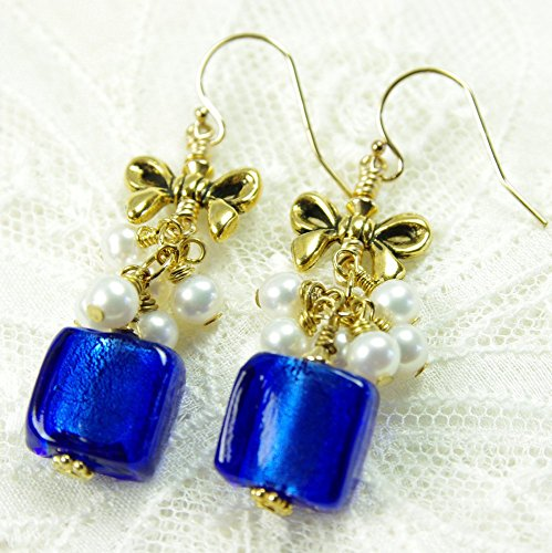 Cobalt Blue Glass Earrings White Freshwater Cultured Pearl 14kt Gold Filled Cluster Dangle with Bow (Cluster Bow)