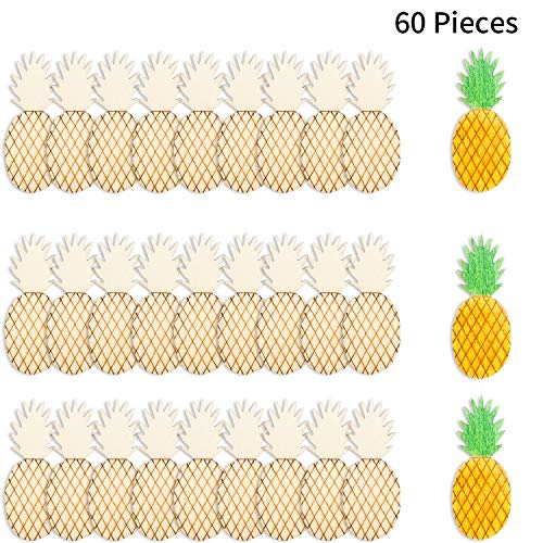 60 Pieces Wood Pineapple Ornaments Wooden Shape Cutouts Wooden Pineapple DIY Crafts Ornament Hawaiian Embellishments for Home Decorations -
