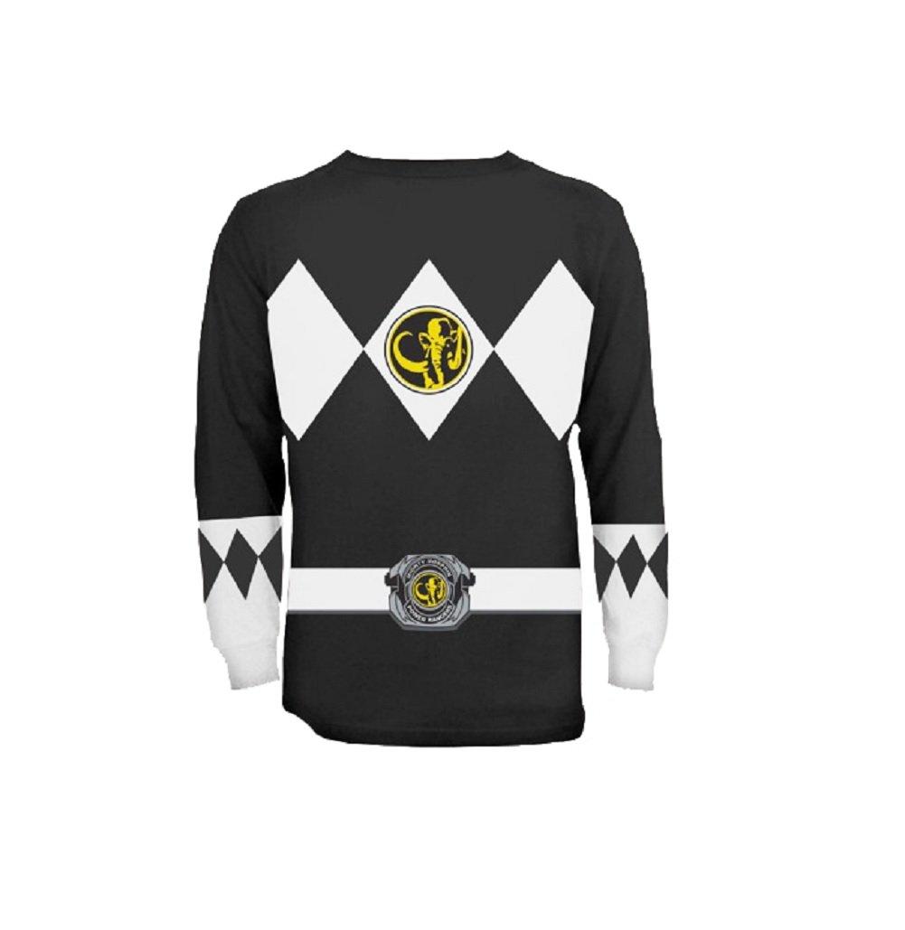 The Power Rangers Long Sleeve Ranger Costume Black T-shirt (Adult XX-Large)