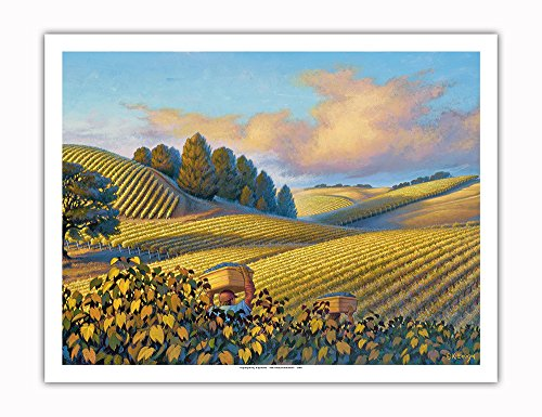 Pacifica Island Art Golden Vineyards - Wine Country Art by Kerne Erickson - Fine Art Print - 20in x 26in