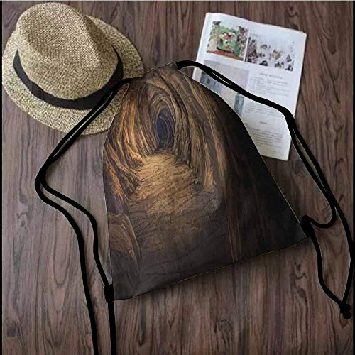 Cave Printed drawstring backpack Ancient Geologic Formation in Digital Painting Style Subterranean Tunnel with a Gate Suitable for school or travel W13.8 x L17.7 Inch Pale Brown