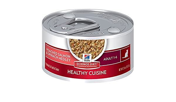 Amazon.com : Hills Science Diet Adult Healthy Cuisine Poached Salmon & Spinach Medley Canned Cat Food, 2.8 oz, by Hills Science Diet Cat : Pet Supplies