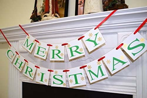Merry CHRISTMAS Banner Holiday Mantle Garland Photo Vintage Inspired
